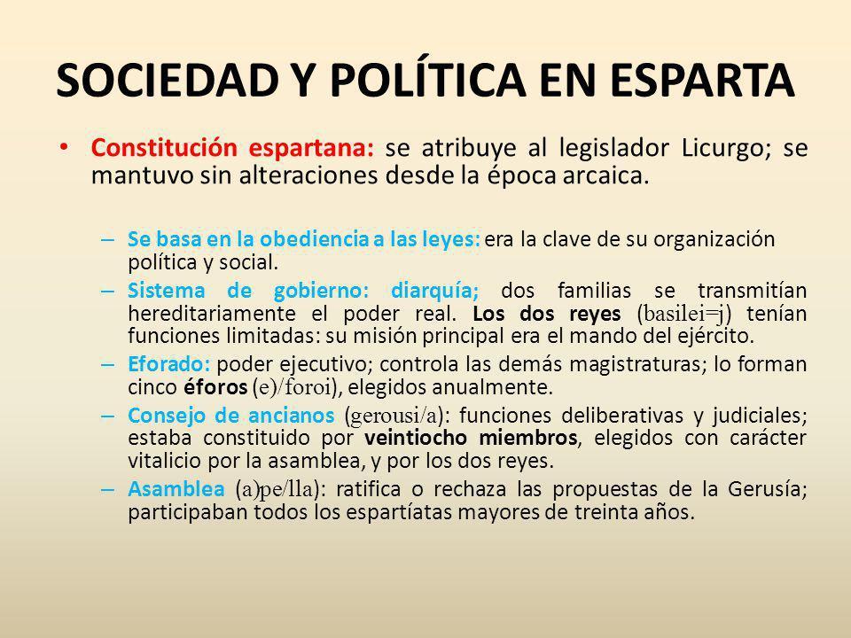 SOCIEDAD Y POLÍTICA EN ESPARTA