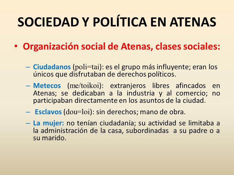 SOCIEDAD Y POLÍTICA EN ATENAS
