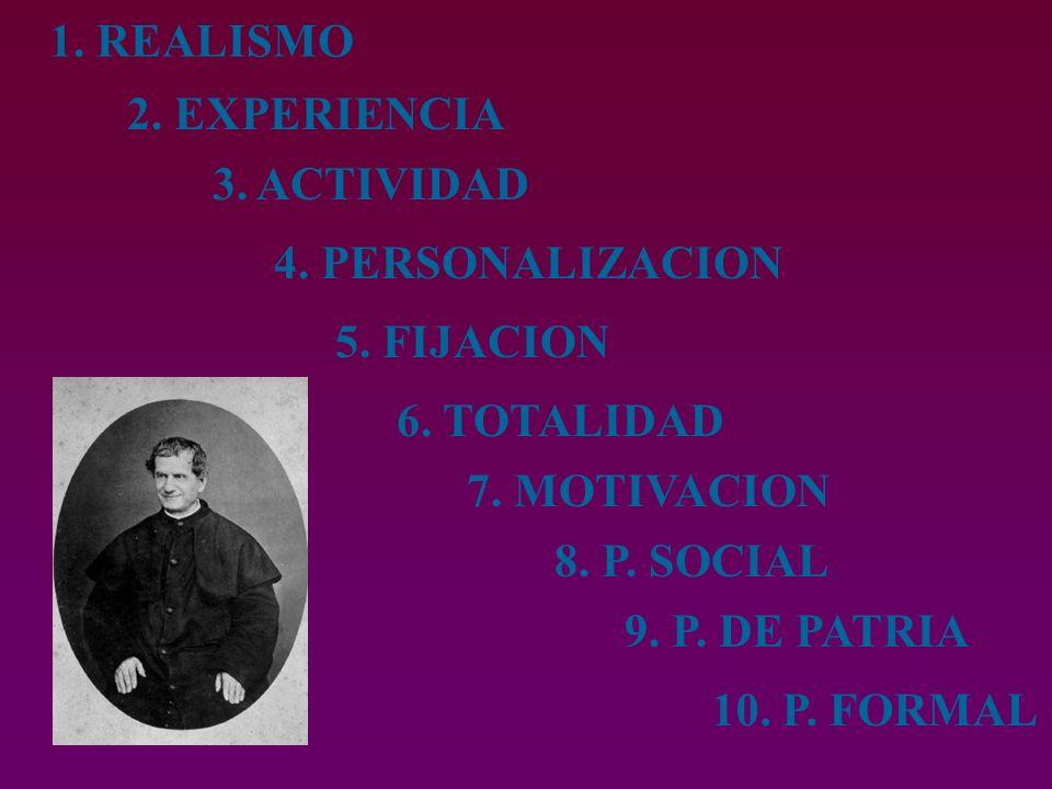 1. REALISMO 2. EXPERIENCIA. 3. ACTIVIDAD. 4. PERSONALIZACION. 5. FIJACION. 6. TOTALIDAD. 7. MOTIVACION.