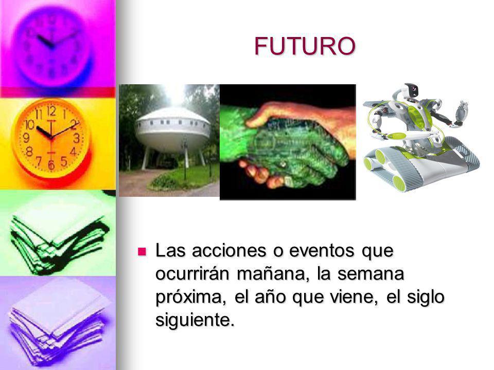 FUTURO Las acciones o eventos que ocurrirán mañana, la semana próxima, el año que viene, el siglo siguiente.
