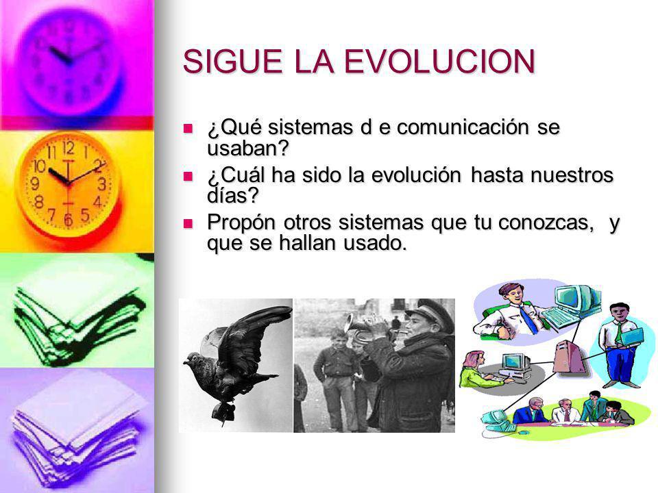 SIGUE LA EVOLUCION ¿Qué sistemas d e comunicación se usaban