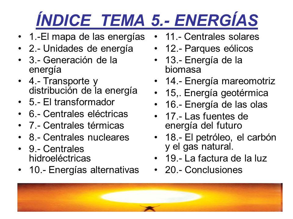 ÍNDICE TEMA 5.- ENERGÍAS 1.-El mapa de las energías