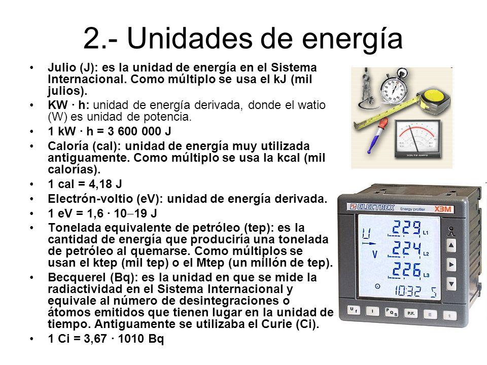 2.- Unidades de energíaJulio (J): es la unidad de energía en el Sistema Internacional. Como múltiplo se usa el kJ (mil julios).