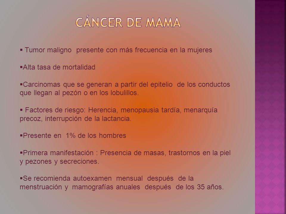 Cáncer de mama Tumor maligno presente con más frecuencia en la mujeres