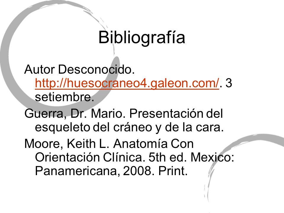 Bibliografía Autor Desconocido. http://huesocraneo4.galeon.com/. 3 setiembre. Guerra, Dr. Mario. Presentación del esqueleto del cráneo y de la cara.