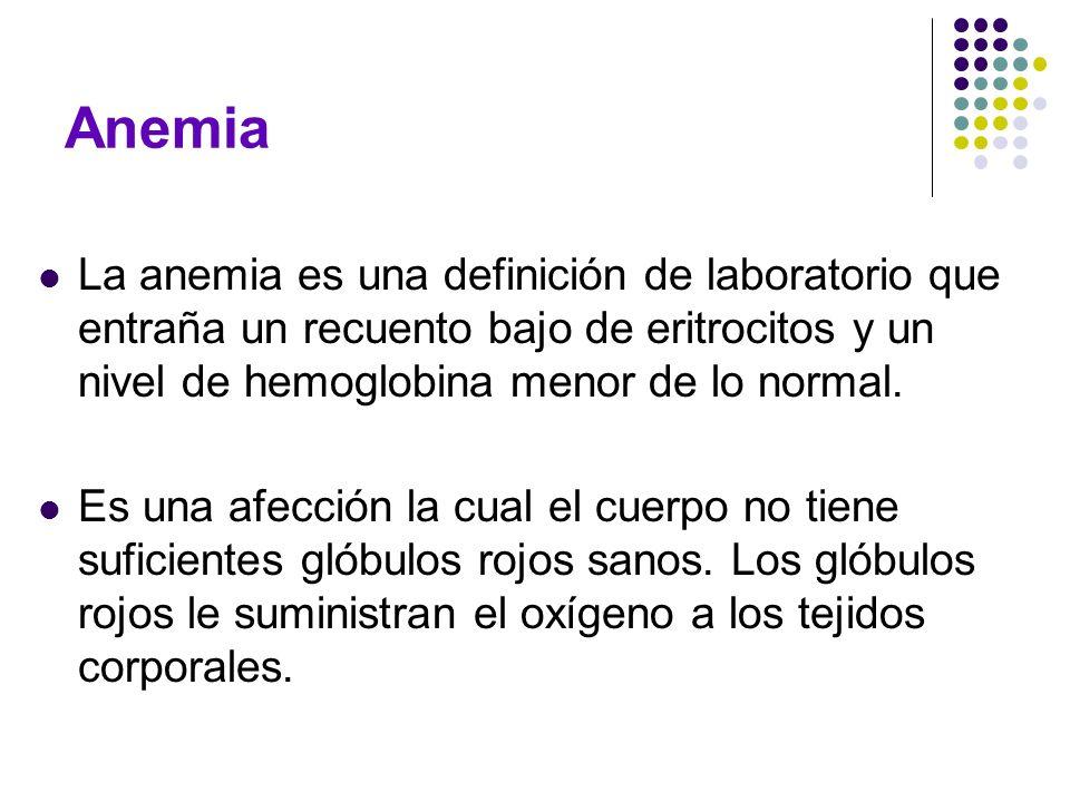 AnemiaLa anemia es una definición de laboratorio que entraña un recuento bajo de eritrocitos y un nivel de hemoglobina menor de lo normal.