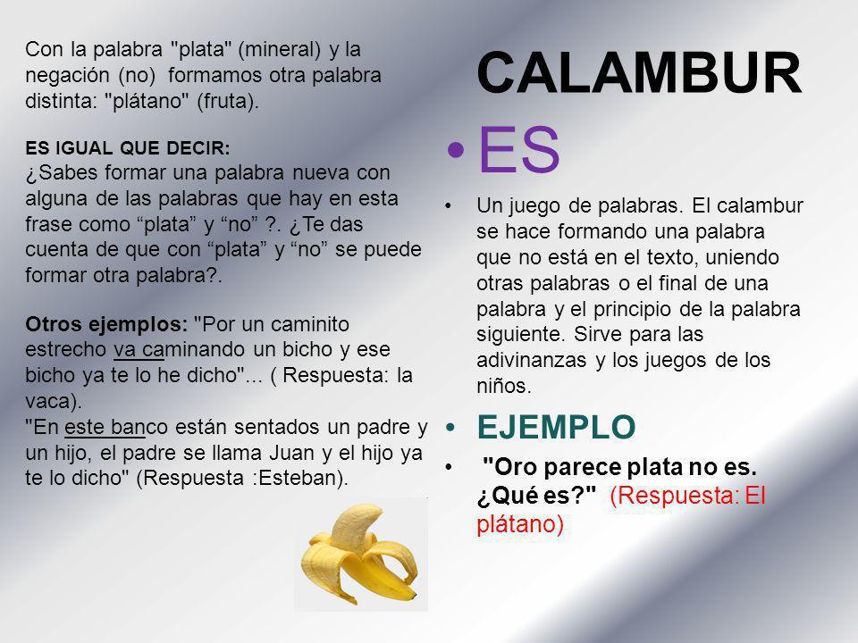 CALAMBUR Con la palabra plata (mineral) y la negación (no) formamos otra palabra distinta: plátano (fruta).