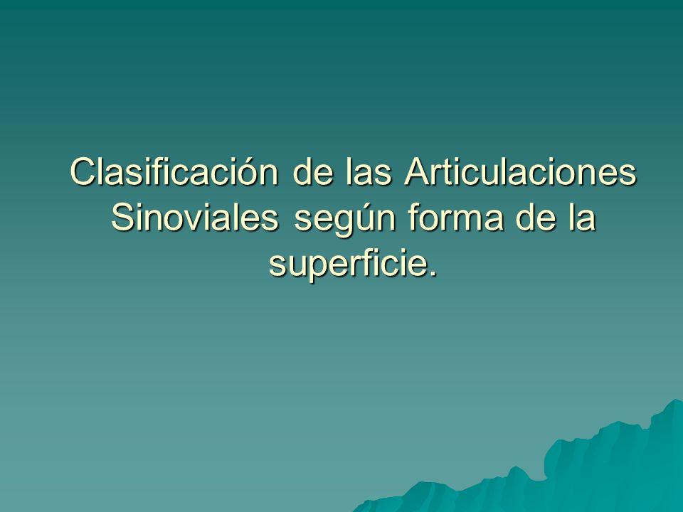 Clasificación de las Articulaciones Sinoviales según forma de la superficie.