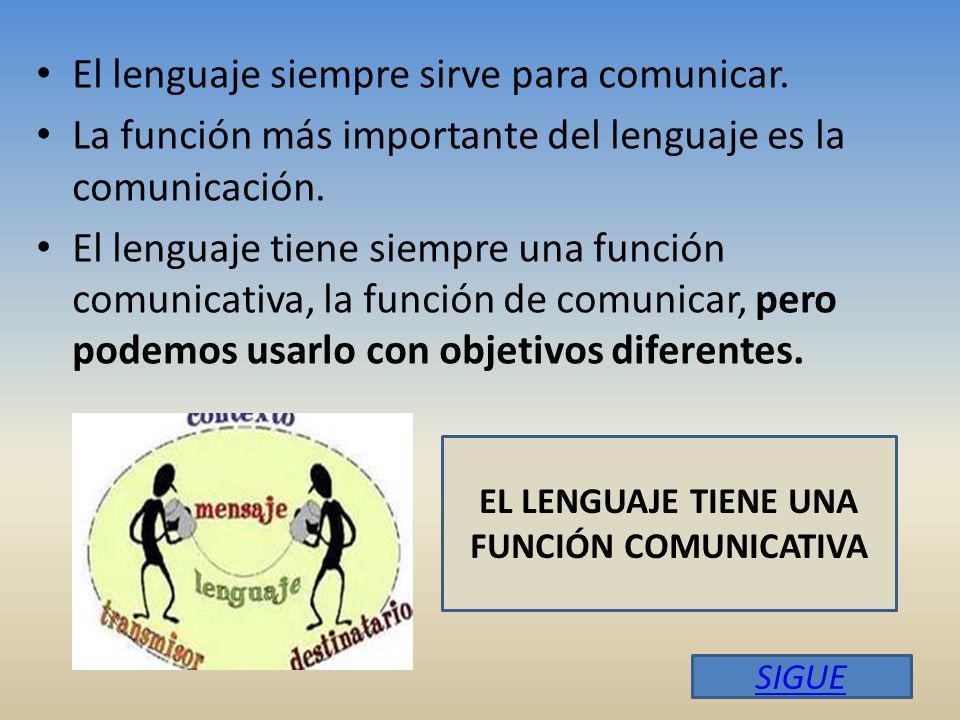 EL LENGUAJE TIENE UNA FUNCIÓN COMUNICATIVA