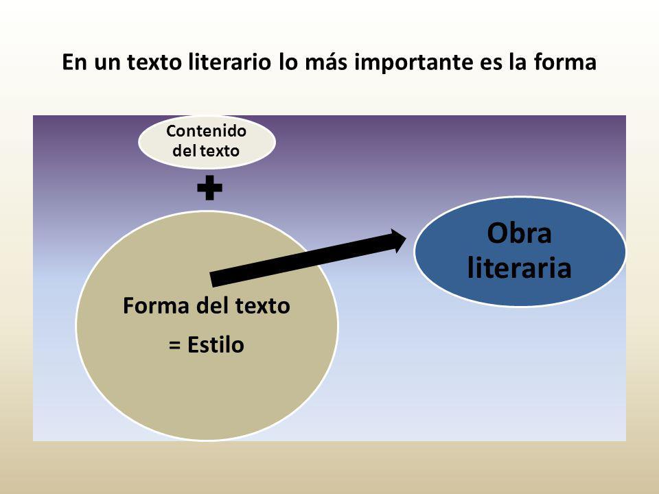 En un texto literario lo más importante es la forma