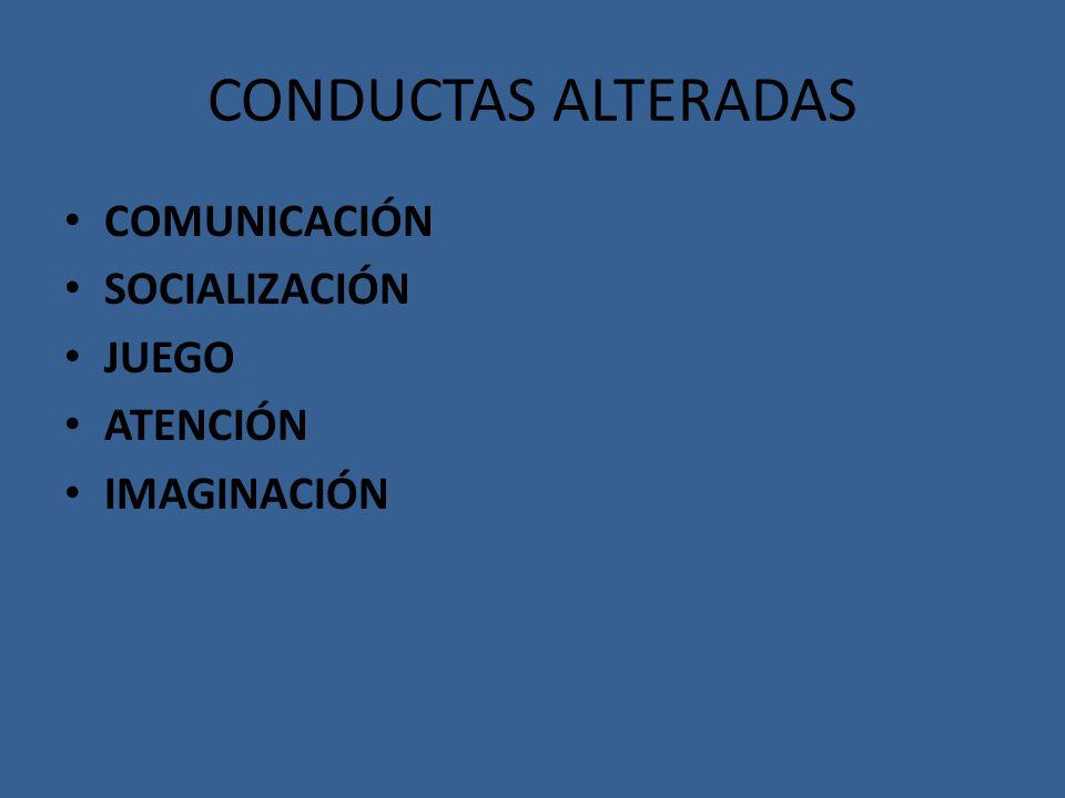 CONDUCTAS ALTERADAS COMUNICACIÓN SOCIALIZACIÓN JUEGO ATENCIÓN