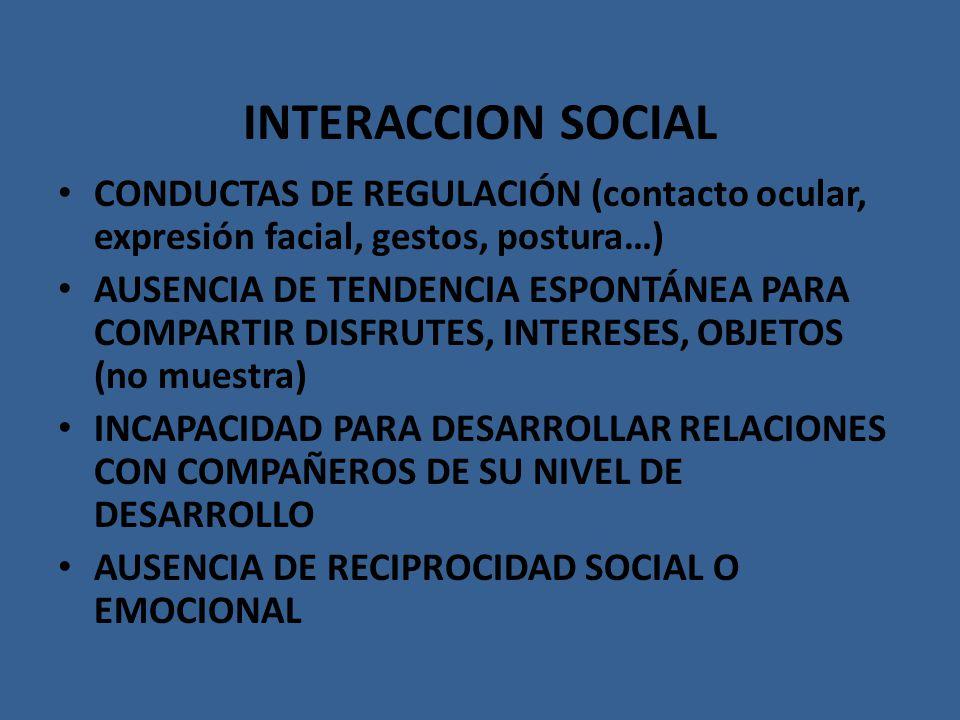INTERACCION SOCIAL CONDUCTAS DE REGULACIÓN (contacto ocular, expresión facial, gestos, postura…)