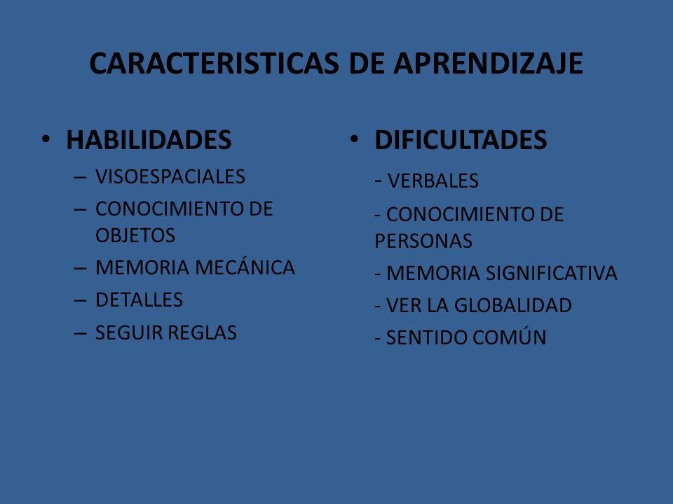 CARACTERISTICAS DE APRENDIZAJE