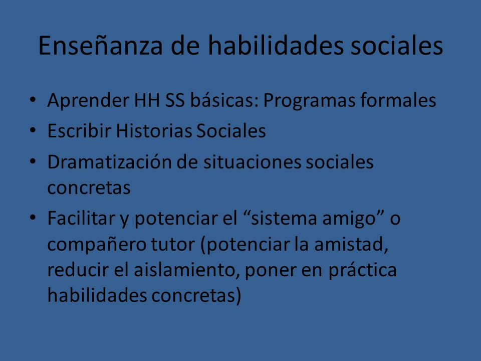 Enseñanza de habilidades sociales