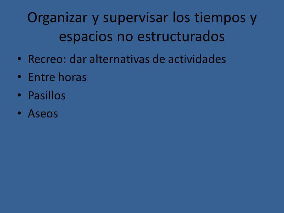 Organizar y supervisar los tiempos y espacios no estructurados