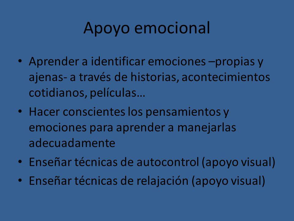 Apoyo emocional Aprender a identificar emociones –propias y ajenas- a través de historias, acontecimientos cotidianos, películas…