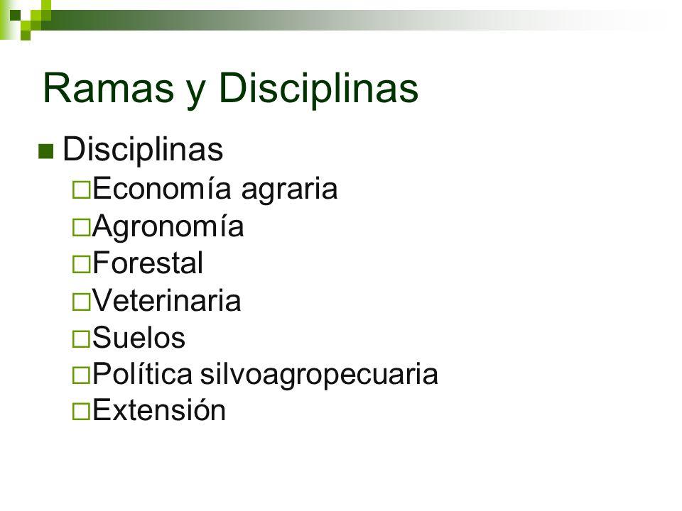 Ramas y Disciplinas Disciplinas Economía agraria Agronomía Forestal