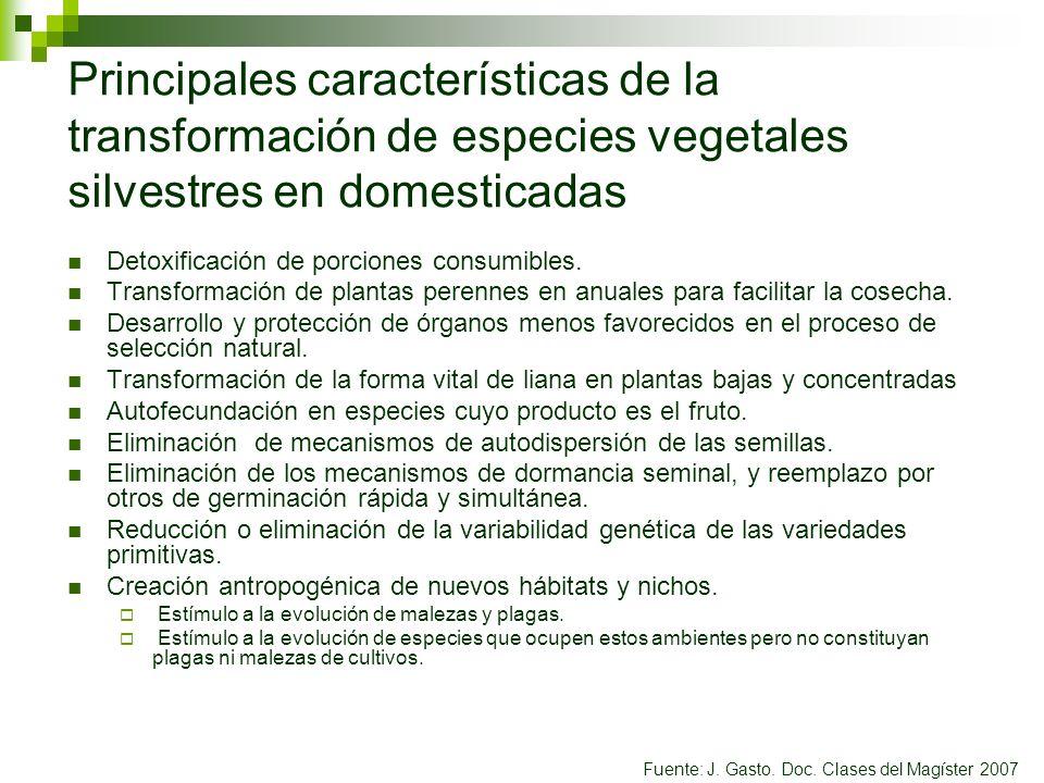 Principales características de la transformación de especies vegetales silvestres en domesticadas