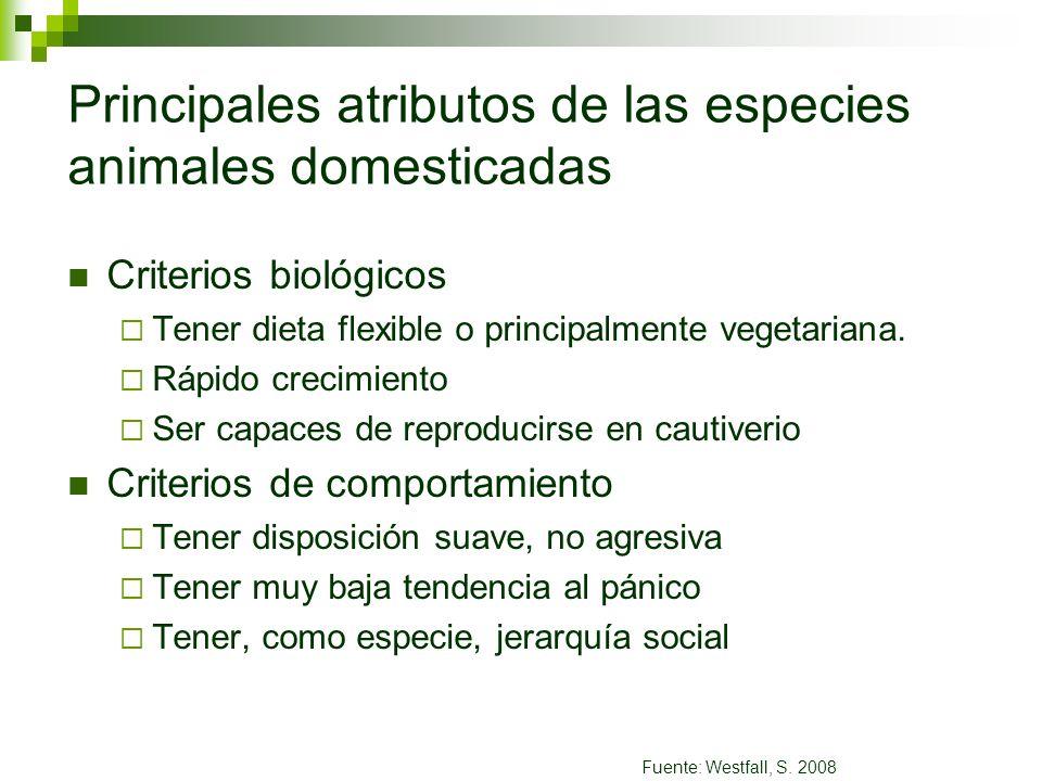 Principales atributos de las especies animales domesticadas