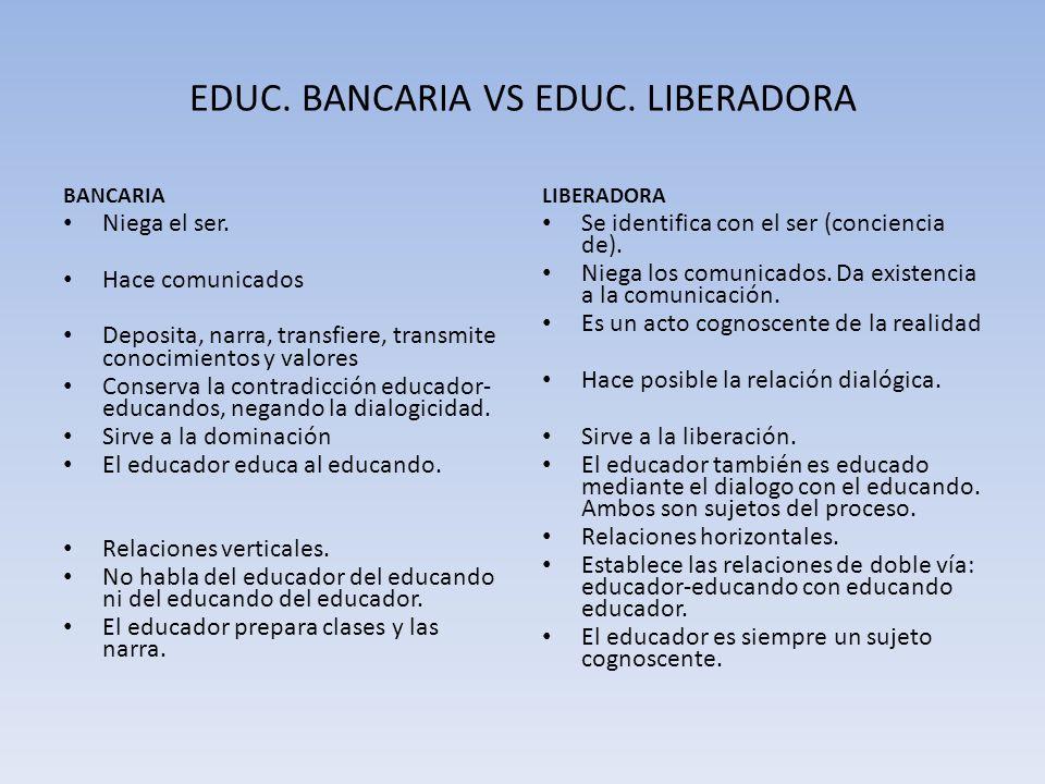 EDUC. BANCARIA VS EDUC. LIBERADORA