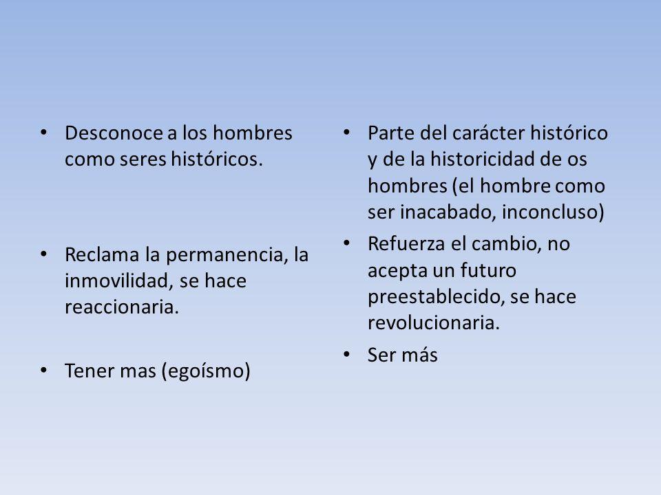 Desconoce a los hombres como seres históricos.