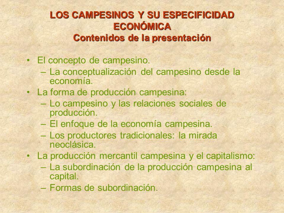 LOS CAMPESINOS Y SU ESPECIFICIDAD ECONÓMICA Contenidos de la presentación