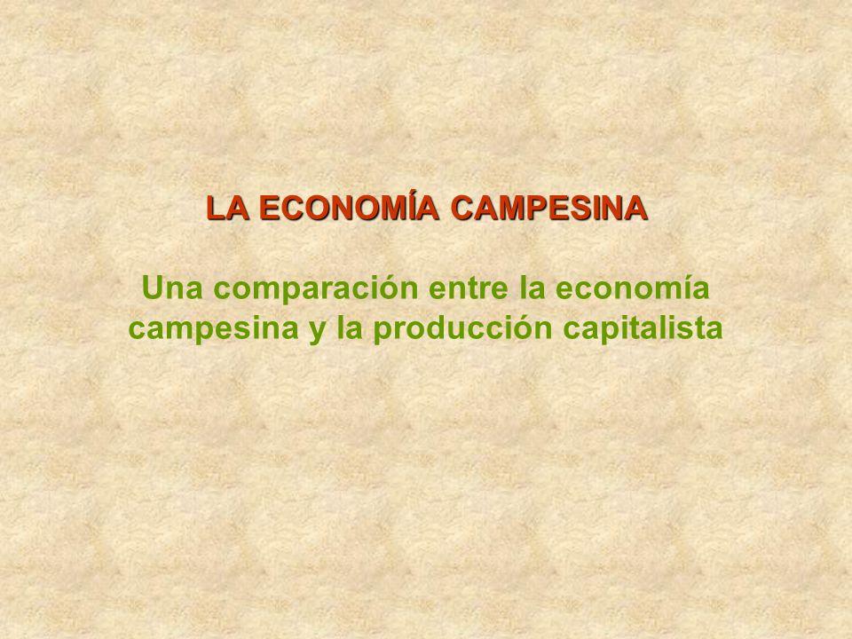 LA ECONOMÍA CAMPESINA Una comparación entre la economía campesina y la producción capitalista