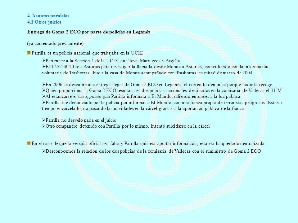 4. Asuntos paralelos 4.1 Otros juicios. Entrega de Goma 2 ECO por parte de policías en Leganés. (ya comentado previamente)