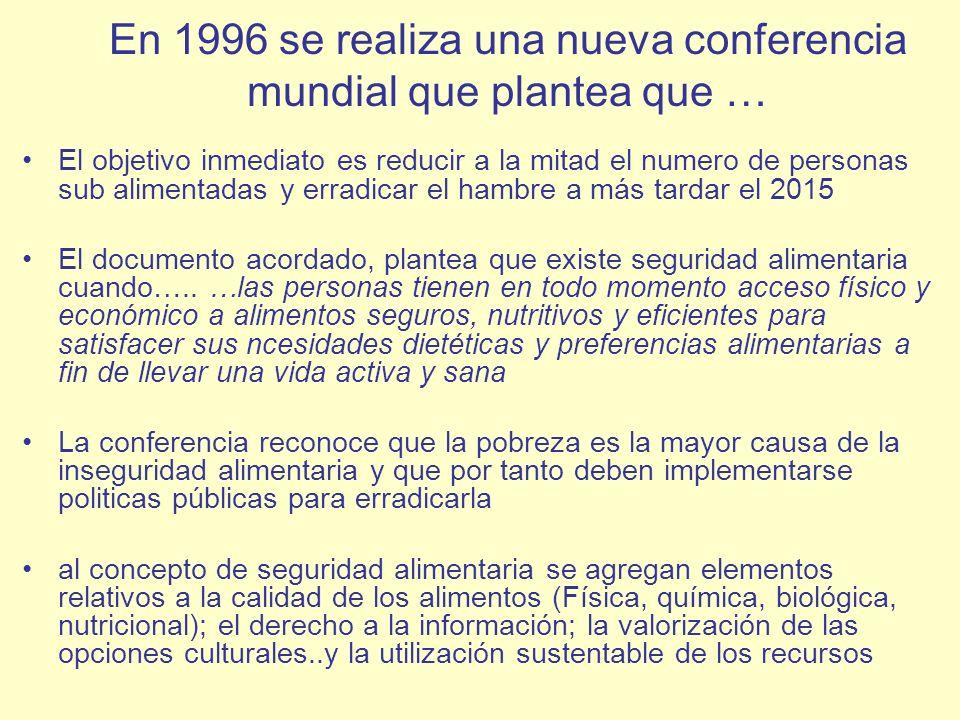 En 1996 se realiza una nueva conferencia mundial que plantea que …