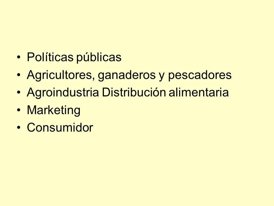 Políticas públicas Agricultores, ganaderos y pescadores. Agroindustria Distribución alimentaria. Marketing.