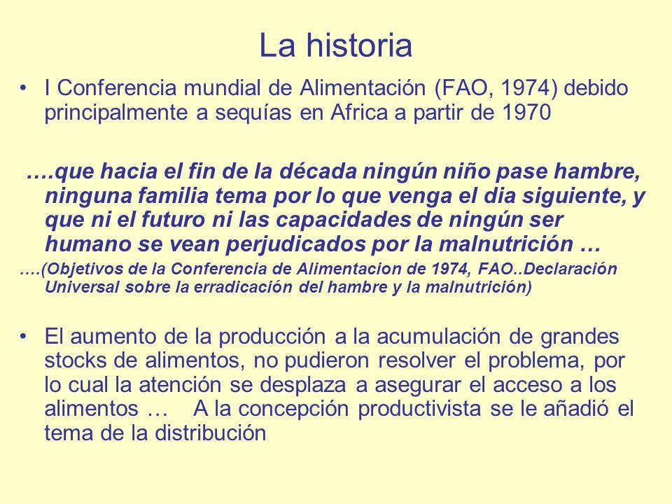 La historia I Conferencia mundial de Alimentación (FAO, 1974) debido principalmente a sequías en Africa a partir de 1970.