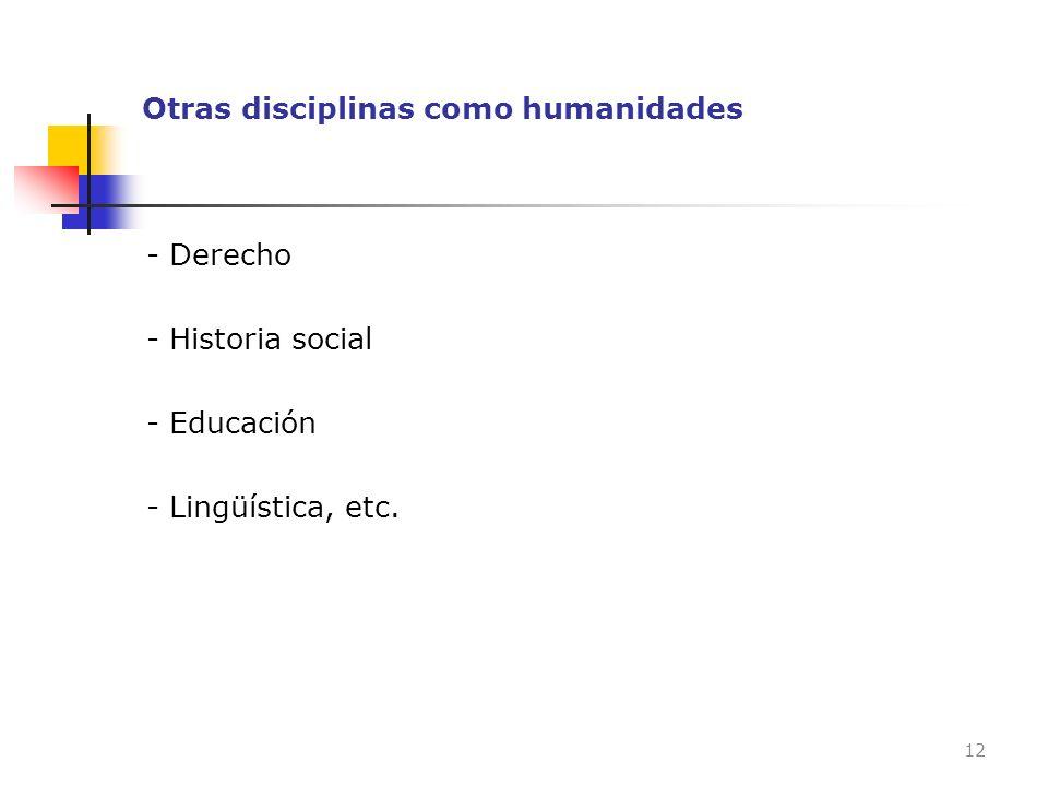 Otras disciplinas como humanidades