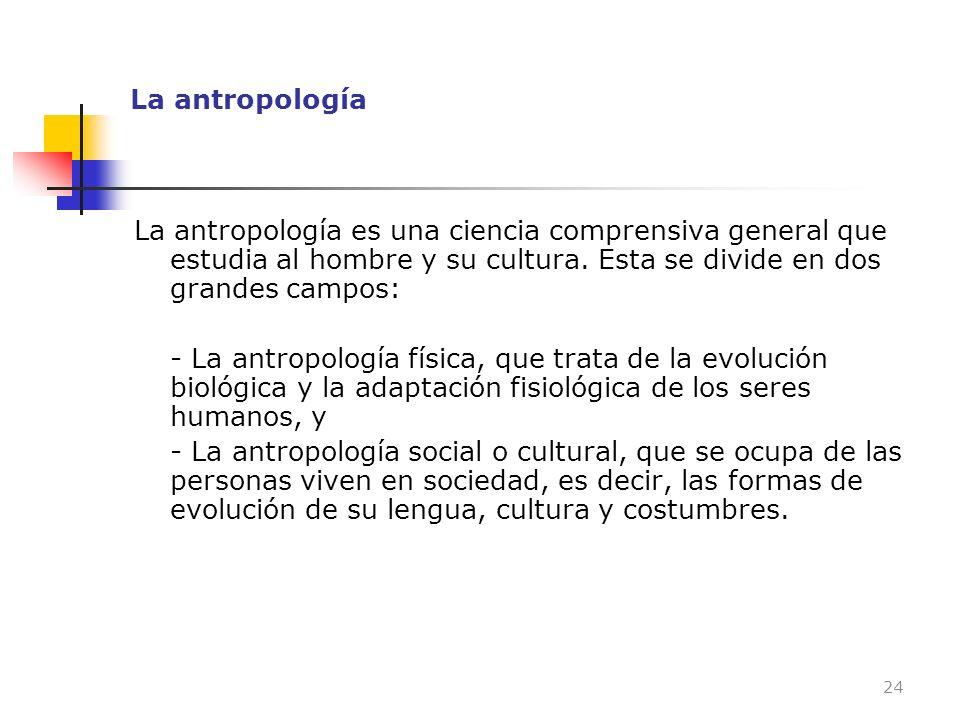 La antropología La antropología es una ciencia comprensiva general que estudia al hombre y su cultura. Esta se divide en dos grandes campos: