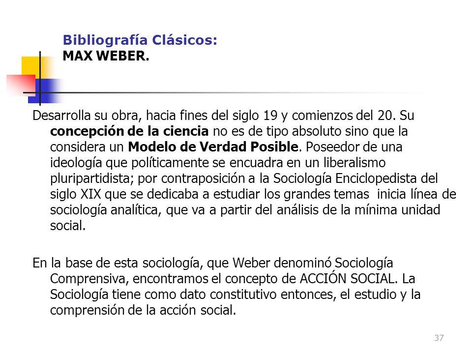 Bibliografía Clásicos: MAX WEBER.