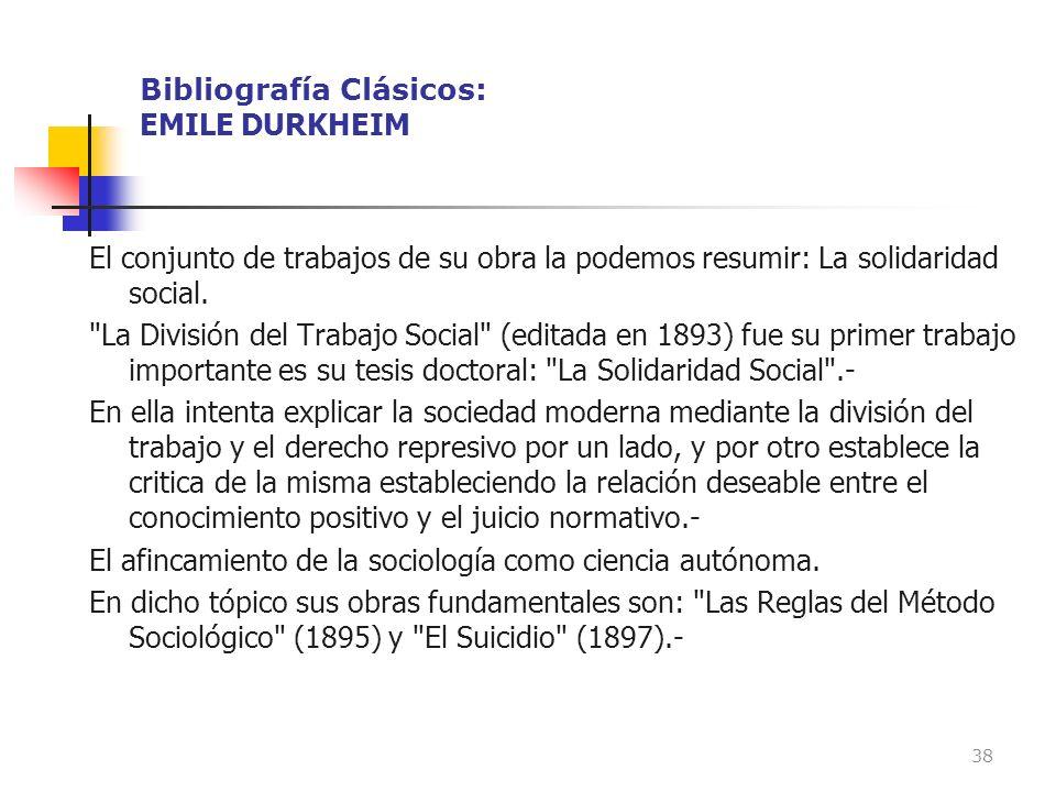 Bibliografía Clásicos: EMILE DURKHEIM