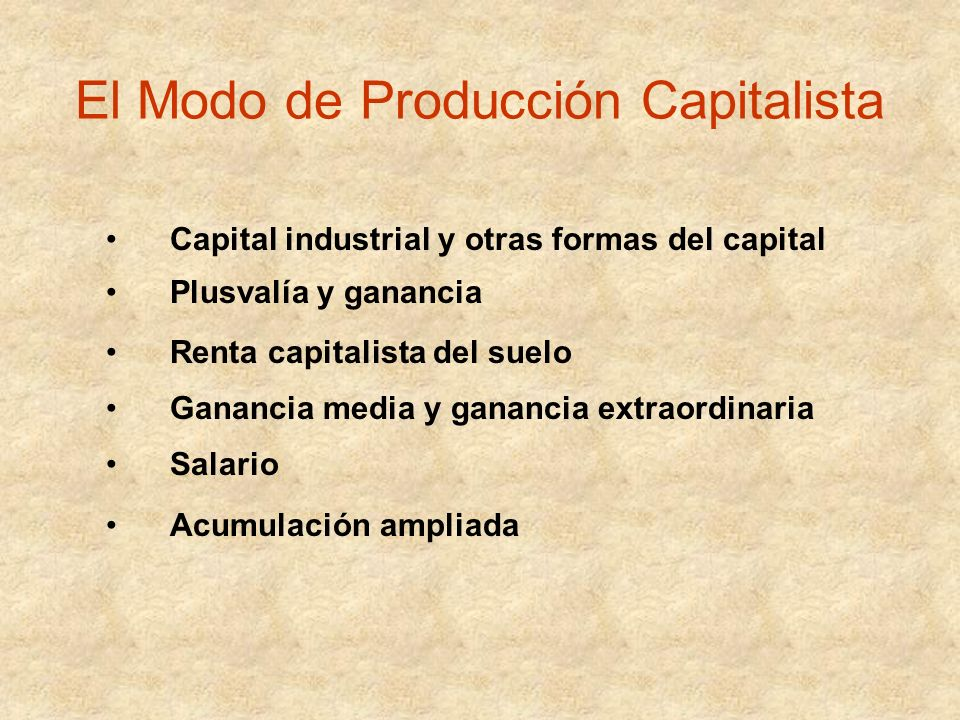 El Modo de Producción Capitalista