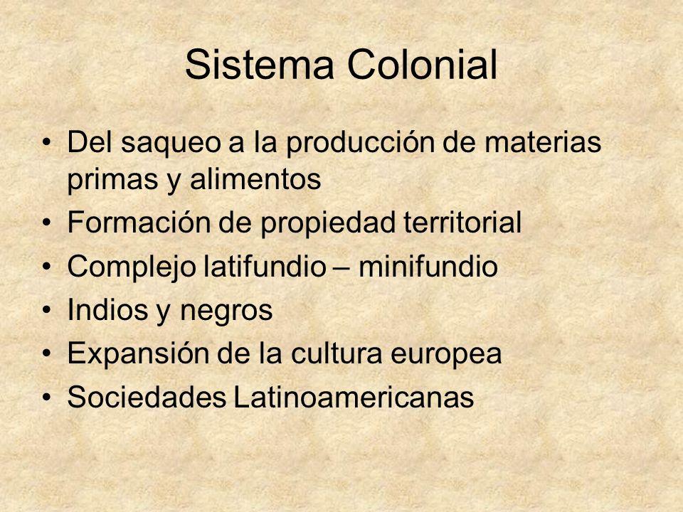 Sistema ColonialDel saqueo a la producción de materias primas y alimentos. Formación de propiedad territorial.