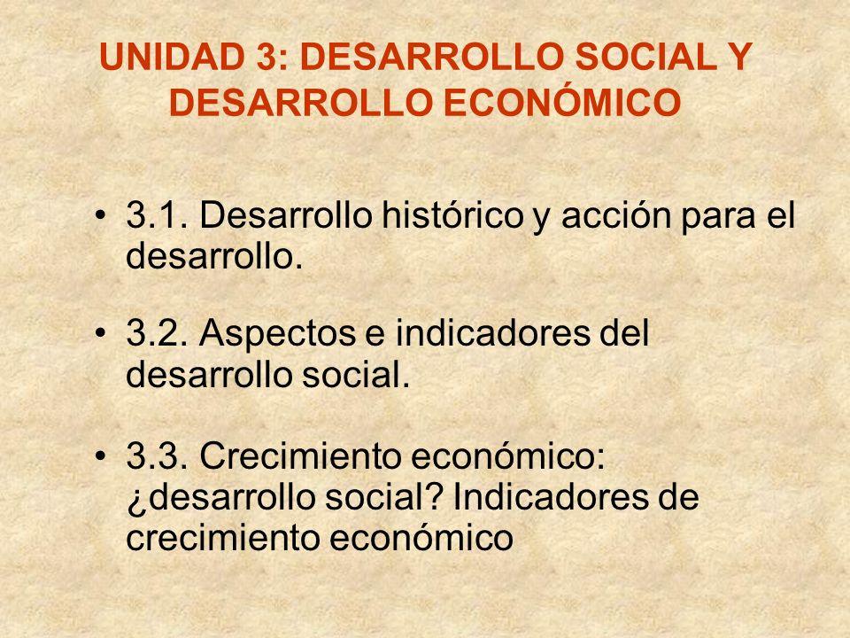 UNIDAD 3: DESARROLLO SOCIAL Y DESARROLLO ECONÓMICO