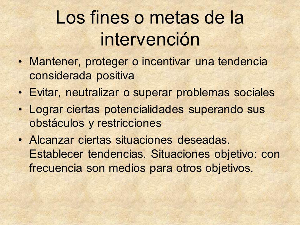 Los fines o metas de la intervención