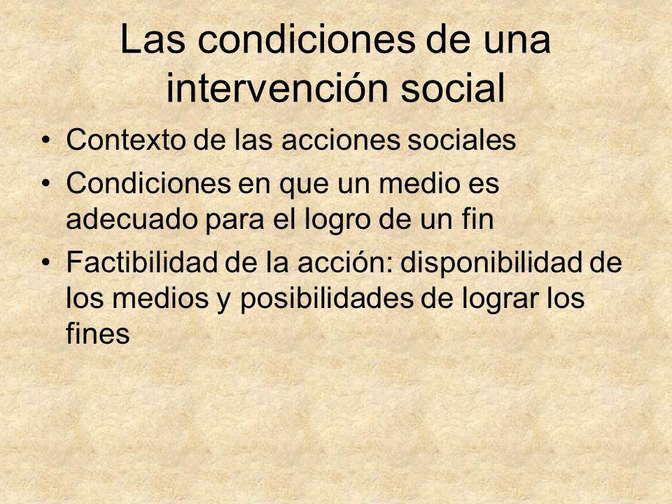 Las condiciones de una intervención social