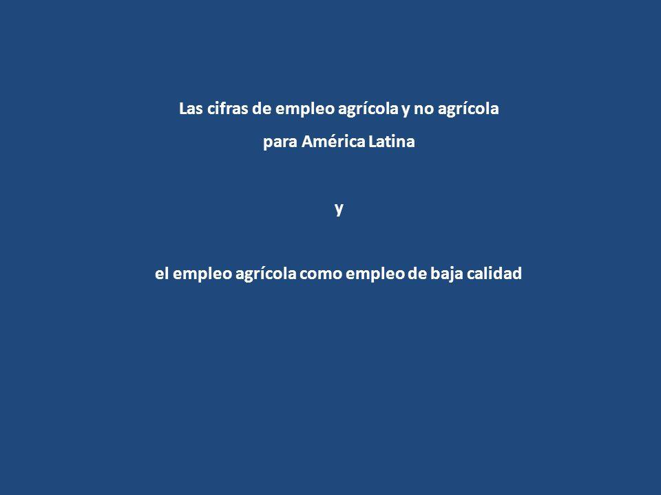 Las cifras de empleo agrícola y no agrícola para América Latina