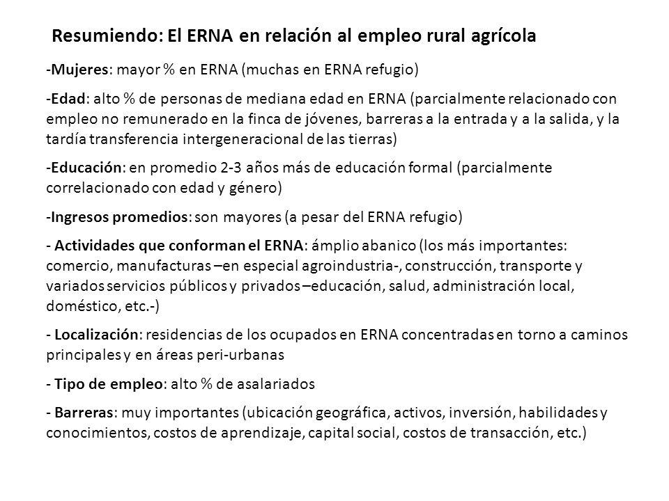 Resumiendo: El ERNA en relación al empleo rural agrícola
