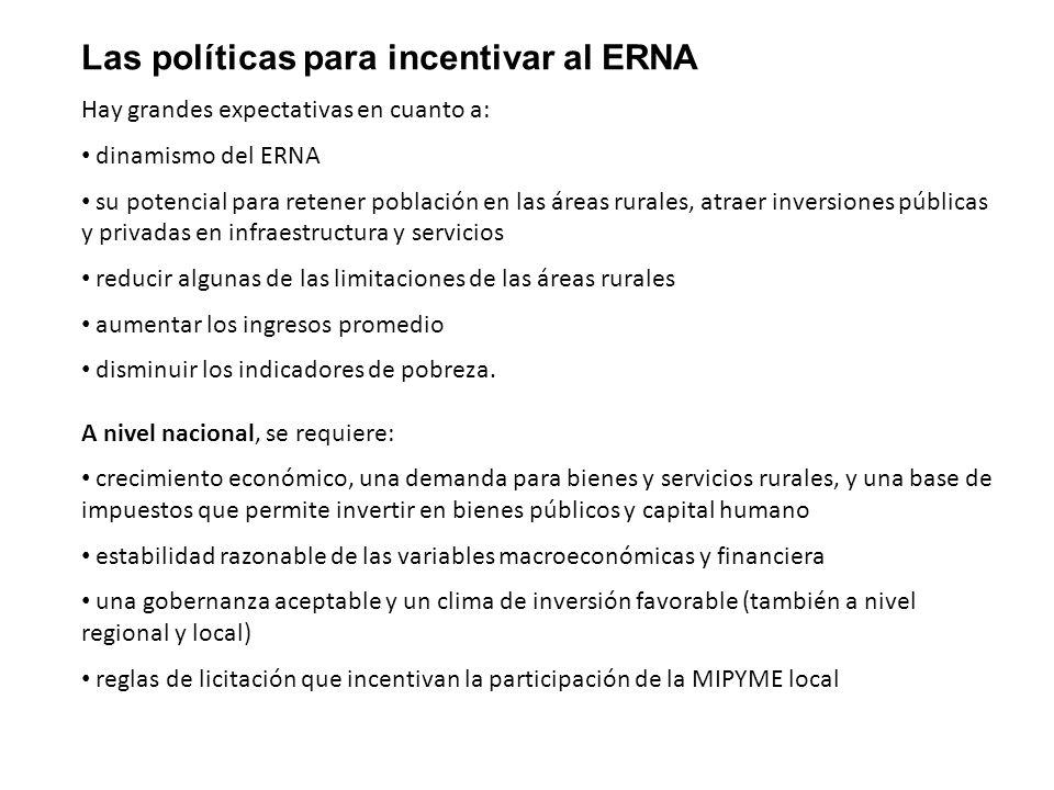 Las políticas para incentivar al ERNA