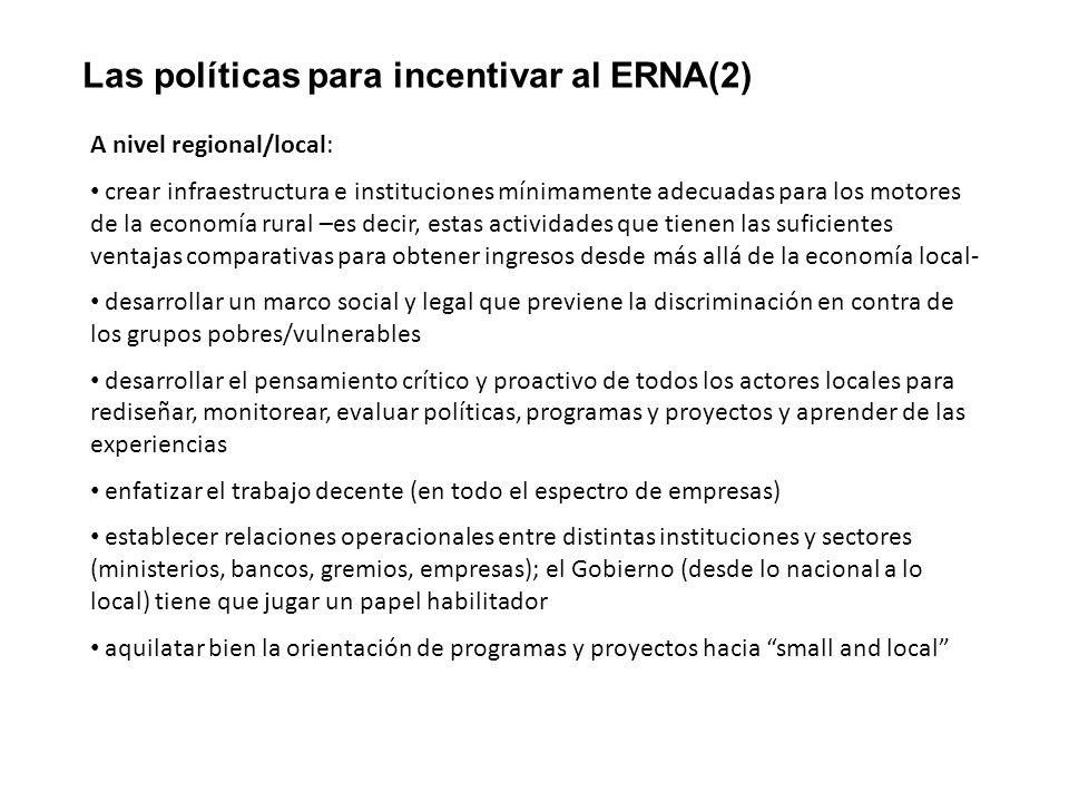 Las políticas para incentivar al ERNA(2)