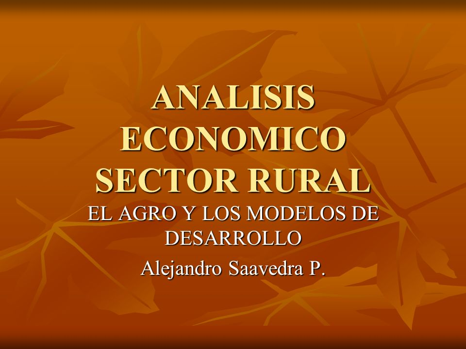 ANALISIS ECONOMICO SECTOR RURAL