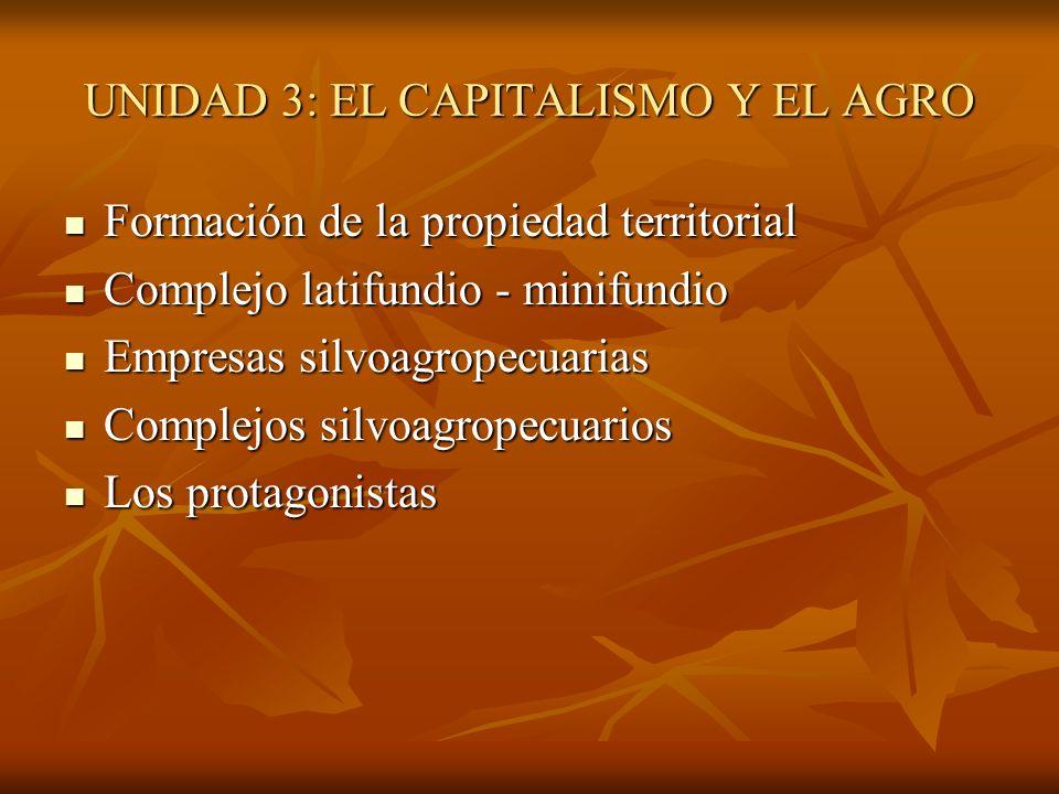 UNIDAD 3: EL CAPITALISMO Y EL AGRO