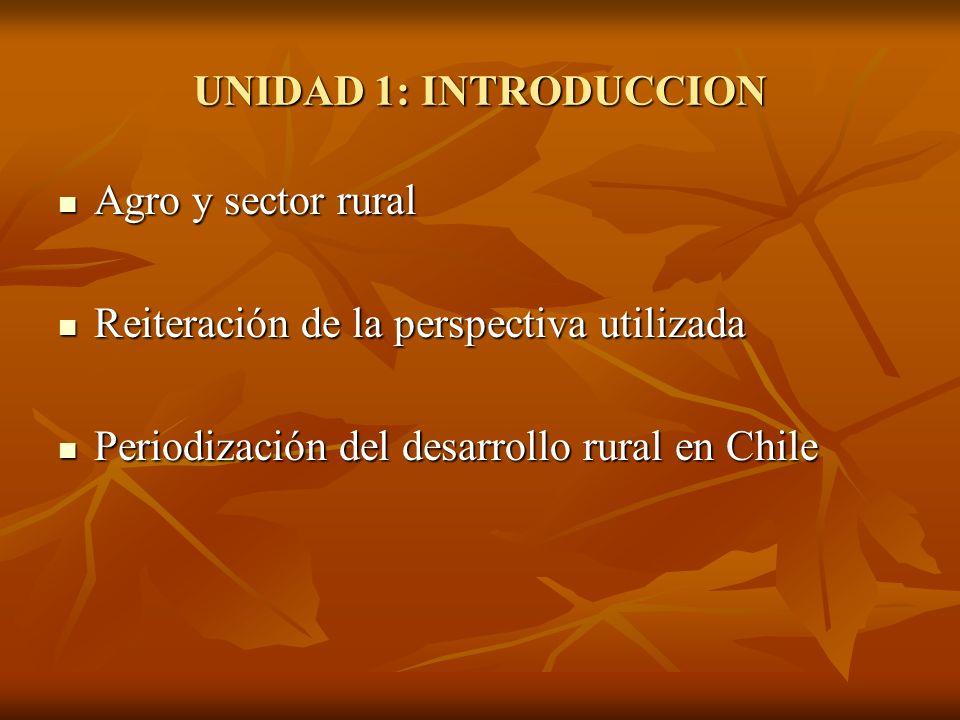 UNIDAD 1: INTRODUCCION Agro y sector rural. Reiteración de la perspectiva utilizada.