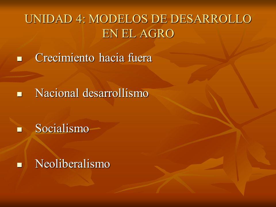 UNIDAD 4: MODELOS DE DESARROLLO EN EL AGRO