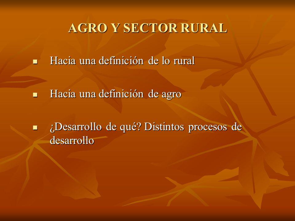 AGRO Y SECTOR RURAL Hacia una definición de lo rural