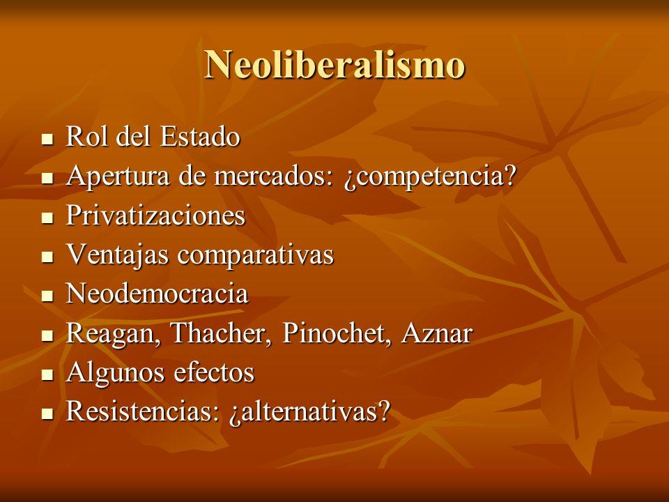 Neoliberalismo Rol del Estado Apertura de mercados: ¿competencia